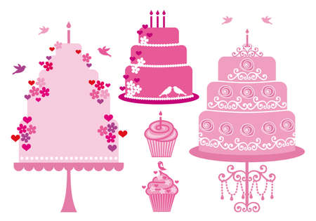wedding cake: Cakes and cupcakes with hearts, flowers and birds, vector set