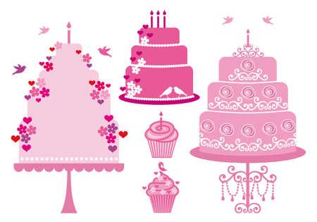 Torte e dolcetti con cuori, fiori e uccelli, vector set Vettoriali