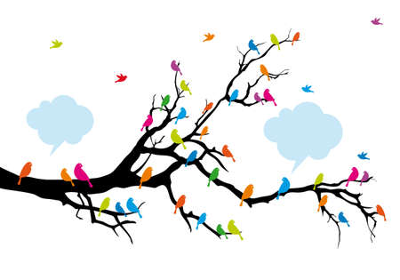 singing silhouette: Colorful birds on tree branch,background illustration