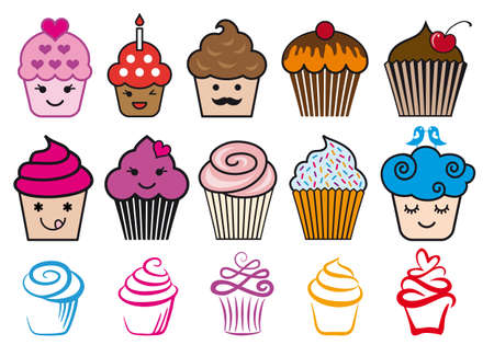 confection: Cute cupcake designs with candle and heart,illustration set