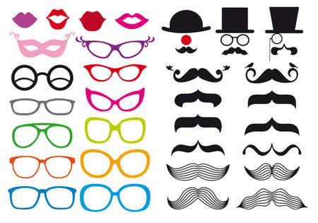 occhiali da vista: enorme insieme di baffi e occhiali, elementi di design