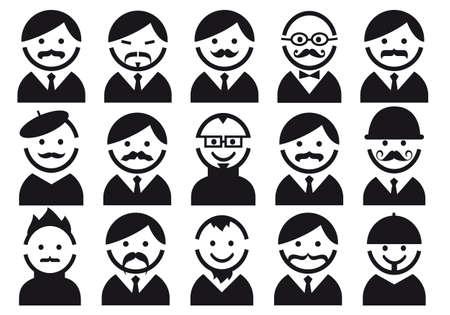 frances: Jefes hombres con bigotes, ilustración del conjunto de la gente del icono