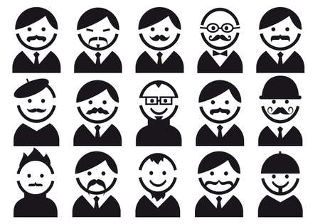 black head and moustache: Male heads with mustaches, illustration of people icon set