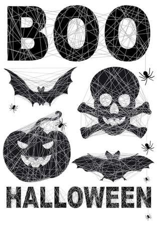 Halloween icon set with spidernet  Ilustração