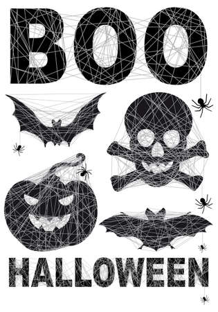 boo: Halloween icon set with spidernet  Illustration