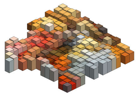 Colorful 3D cubes, abstract background Vector