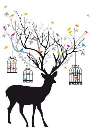 venado: Ciervo con p�jaros de colores y jaulas de p�jaros, ilustraci�n de fondo