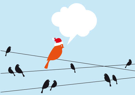 Santa bird with blank speech bubble Stock Vector - 15891360