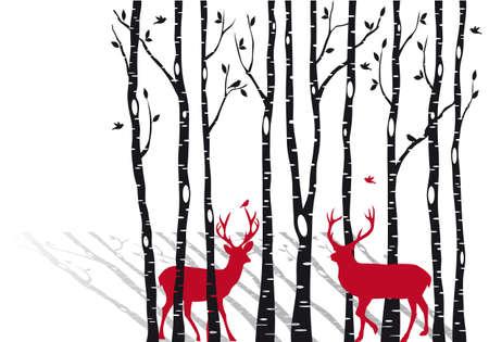renna: albero, bosco di betulle con il rosso di Natale cervi Vettoriali