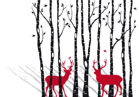 antlers silhouette: birch tree forest with red christmas deers
