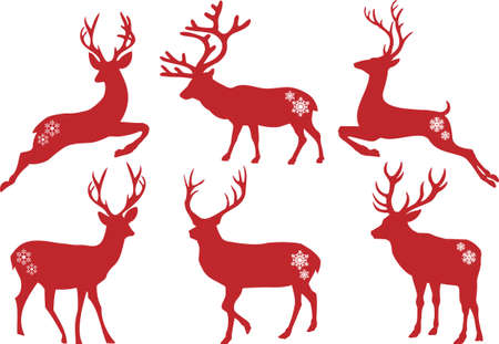 red deer: Christmas deer stag silhouettes