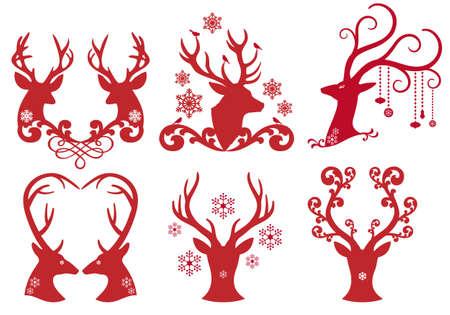 Christmas deer stag heads Illustration