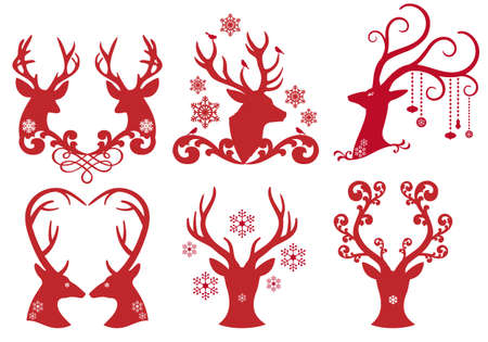 antlers silhouette: Christmas deer stag heads Illustration