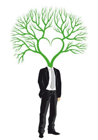 business mind: Businessman with green tree head Illustration