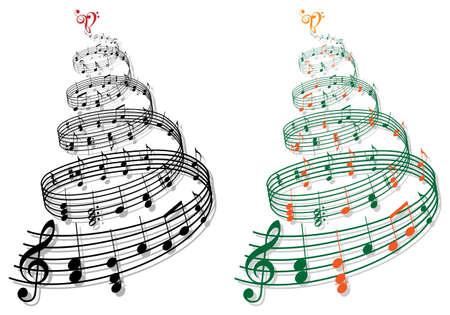 musical note: albero swirly con illustrazione di musica note Vettoriali