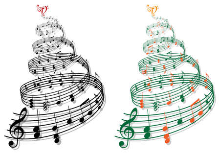 treble clef: swirly tree with music notes illustration