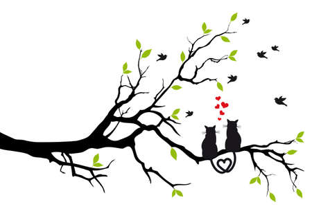 love tree: cats in love on tree branch with birds illustration