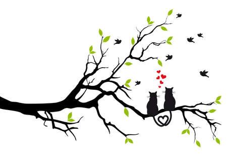 silueta de gato: gatos en amor en rama de árbol con la ilustración de aves