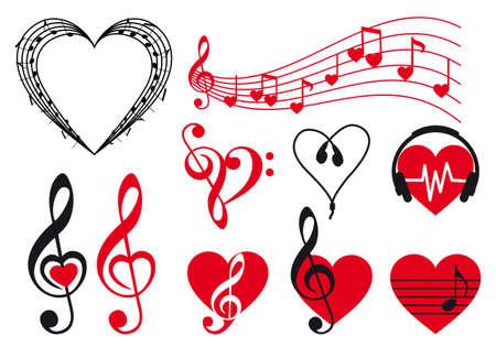 music hearts set, vector design elements Illustration