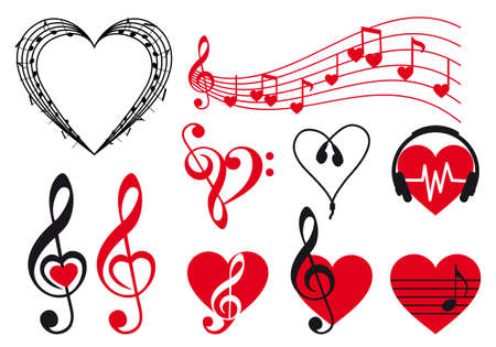 music hearts set, vector design elements Illustration