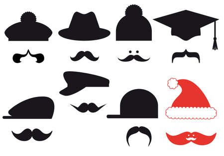 Mustache set with hats Stock Vector - 16304351