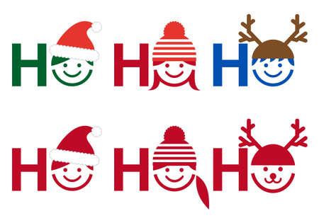 santa girl: Ho ho ho Christmas card with people icon faces Illustration