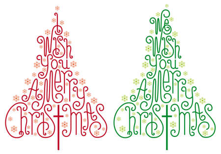 written text: Christmas trees with hand drawn letters and snowflake Illustration