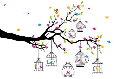 ramo di un albero con gli uccelli e gabbie per uccelli Vettoriali