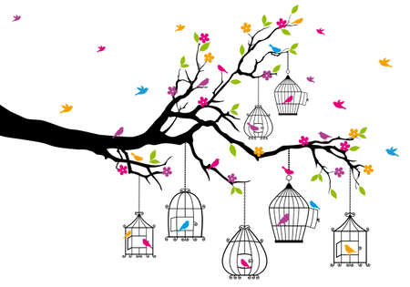 cages: tree branch with birds and birdcages