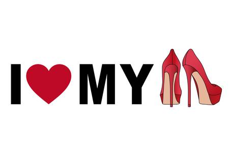 high heel: love my red stiletto shoes Illustration