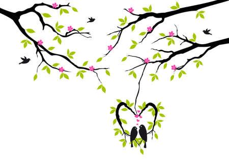 birds sitting on tree in heart shaped nest Illustration
