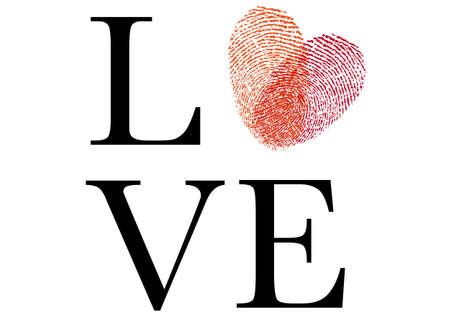 love sign with red fingerprint heart, illustration