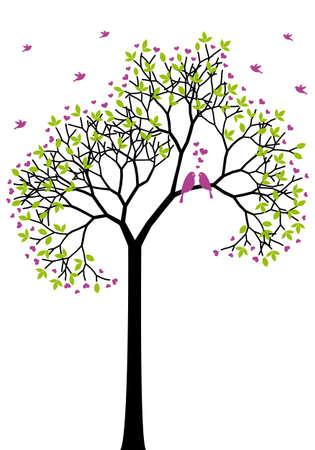 boom met vogels: lente boom met liefde vogels, groene bladeren en hart bloemen, vector Stock Illustratie
