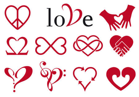 Set of red heart designs, vector design elements Vector