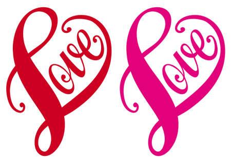 kalp: Aşk, elle çizilmiş tipografik kırmızı kalp tasarımı