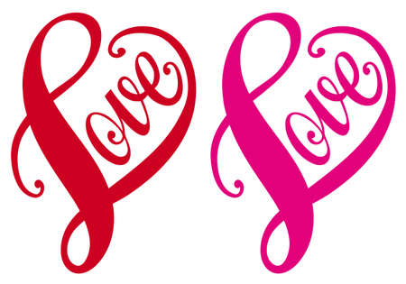 cuore nel le mani: Amore, disegnata a mano cuore design tipografico rosso