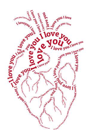 word art: red human heart, hand drawn typography word art, vector illustration
