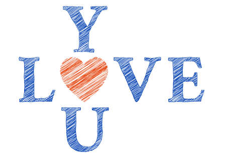 Love you with hand drawn letters, hand written Stock Vector - 17500624