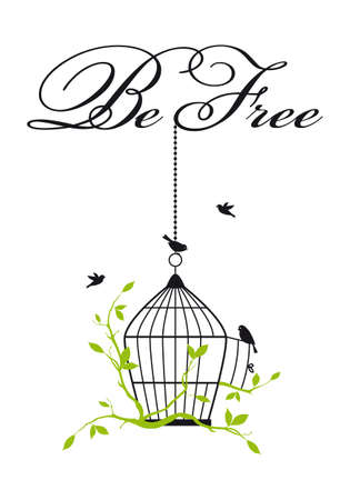 be free, open birdcage with birds and green tree branches