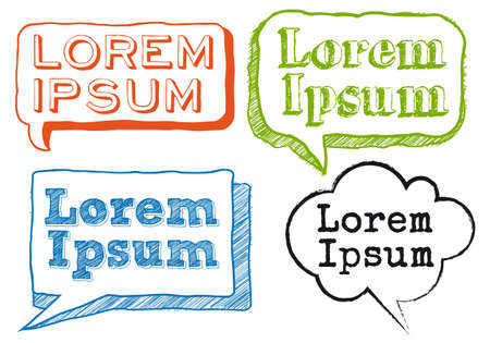 lorem ipsum text in hand-drawn speech bubbles Vector
