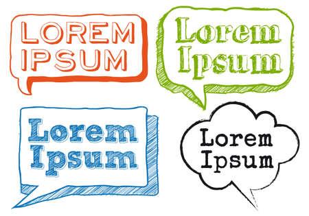 lorem ipsum text in hand-drawn speech bubbles