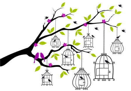 cage: tree branch with open birdcages and birds