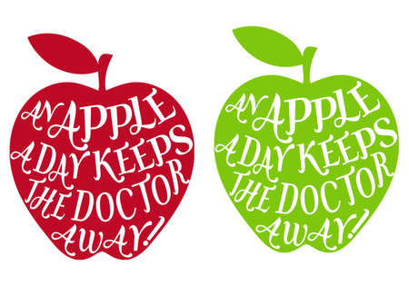 an apple a day keeps the doctor away, vector  イラスト・ベクター素材