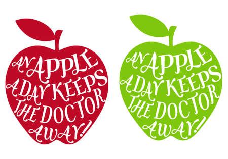 eslogan: una manzana al día mantiene alejado al médico, vector