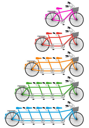 tandem bicycle set, vector design elements