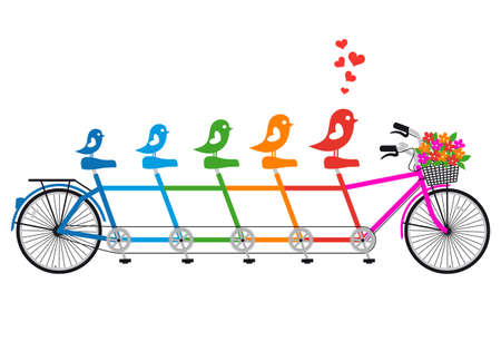 tandem bicycle: tandem bicycle with bird family, hearts and flower basket, vector
