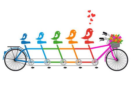 duif tekening: tandem fiets met vogel familie, harten en bloemenmand, vector