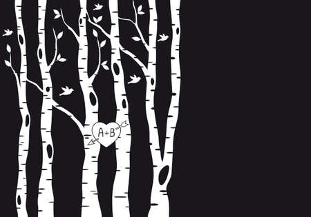 wedding invitation template with birch trees, birds and heart, vector  Ilustração