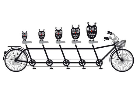 owl family on tandem bicycle, vector