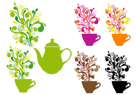 yellow tea pot: coffee and tea cups with colorful ornamental swirls, vector set